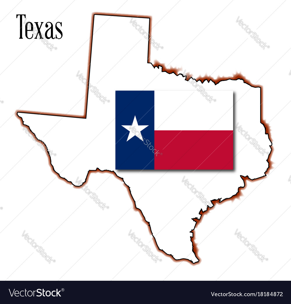Texas map and flag