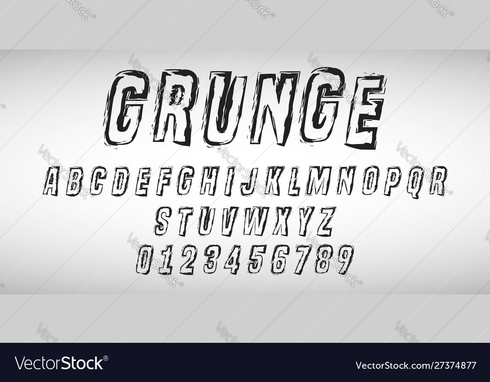 Alphabet letters and numbers grunge design