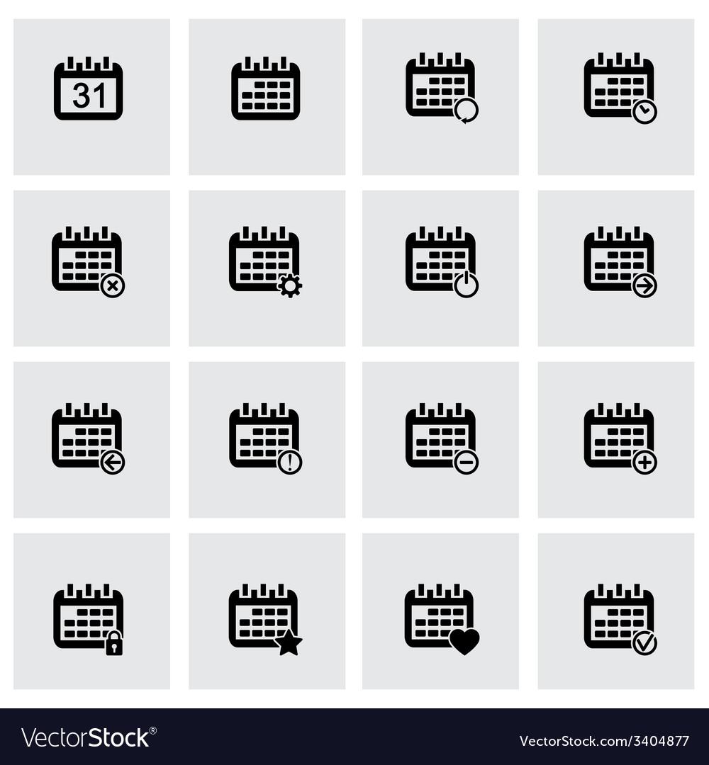 Black calendar icons set