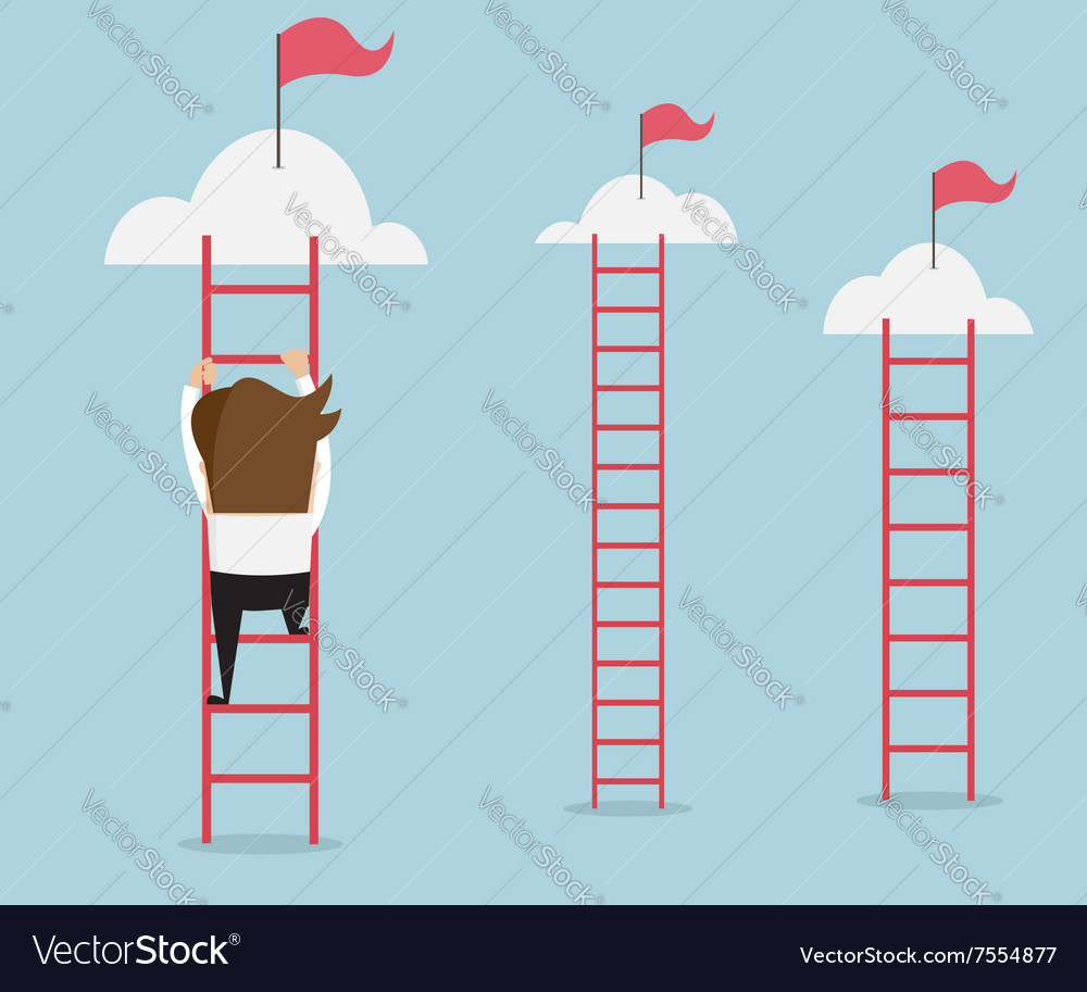 Businessman climbing the ladder for red flag
