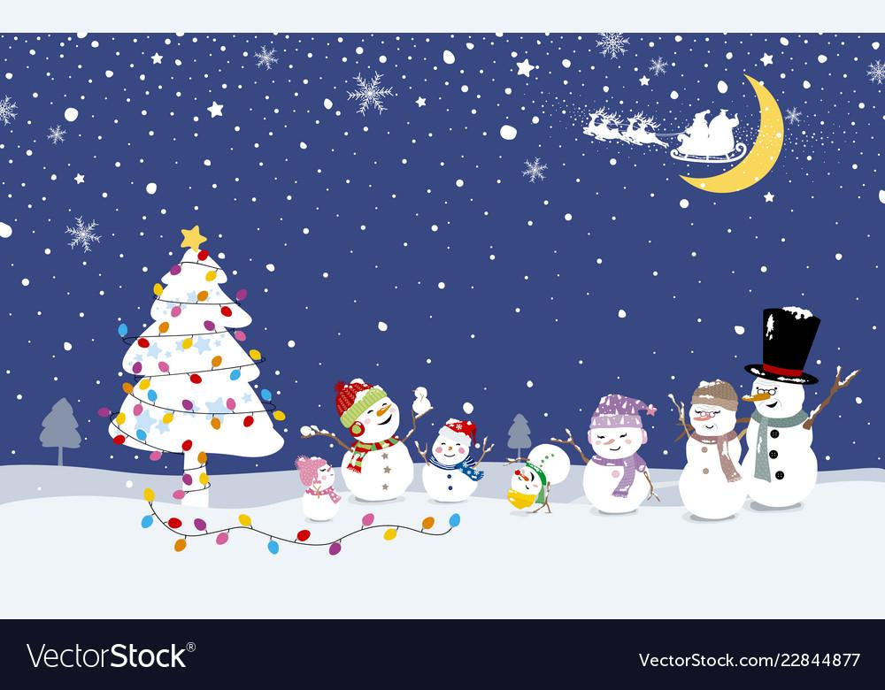 Christmas card design snowman family