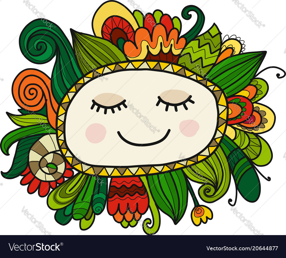 Floral face sketch for your design vector image