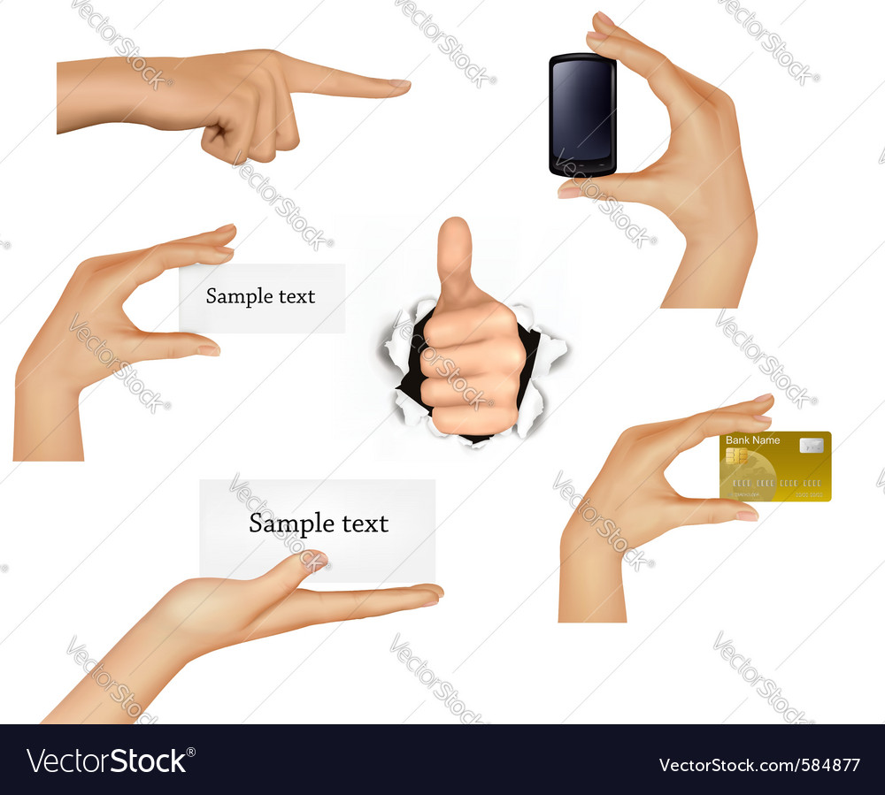 Hands holding objects vector image