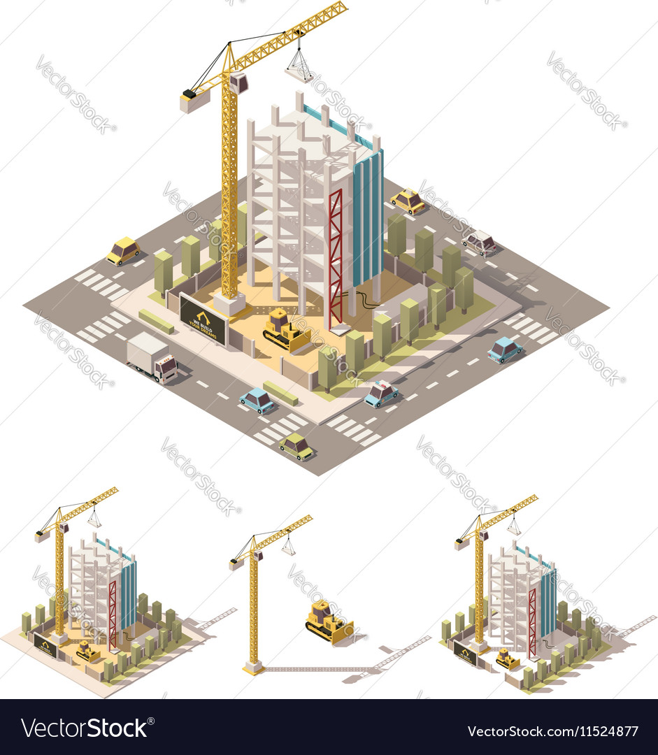 Isometric low poly construction site