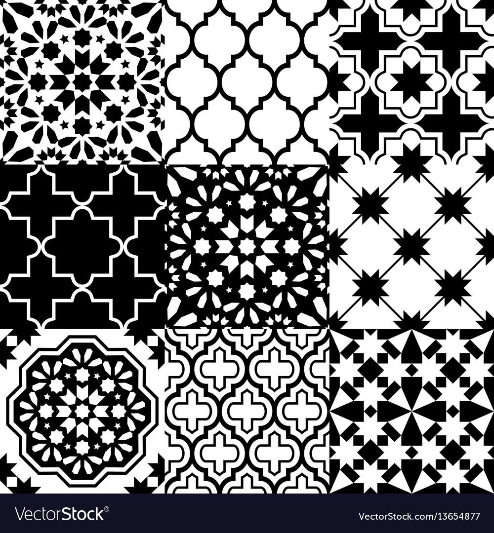Moroccan tiles design seamless black pattern Vector Image