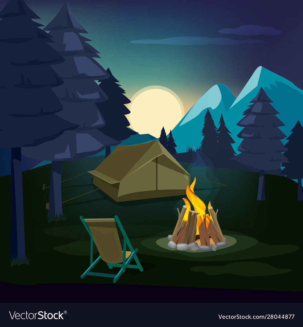 Night campfire wooden landscape with tent and