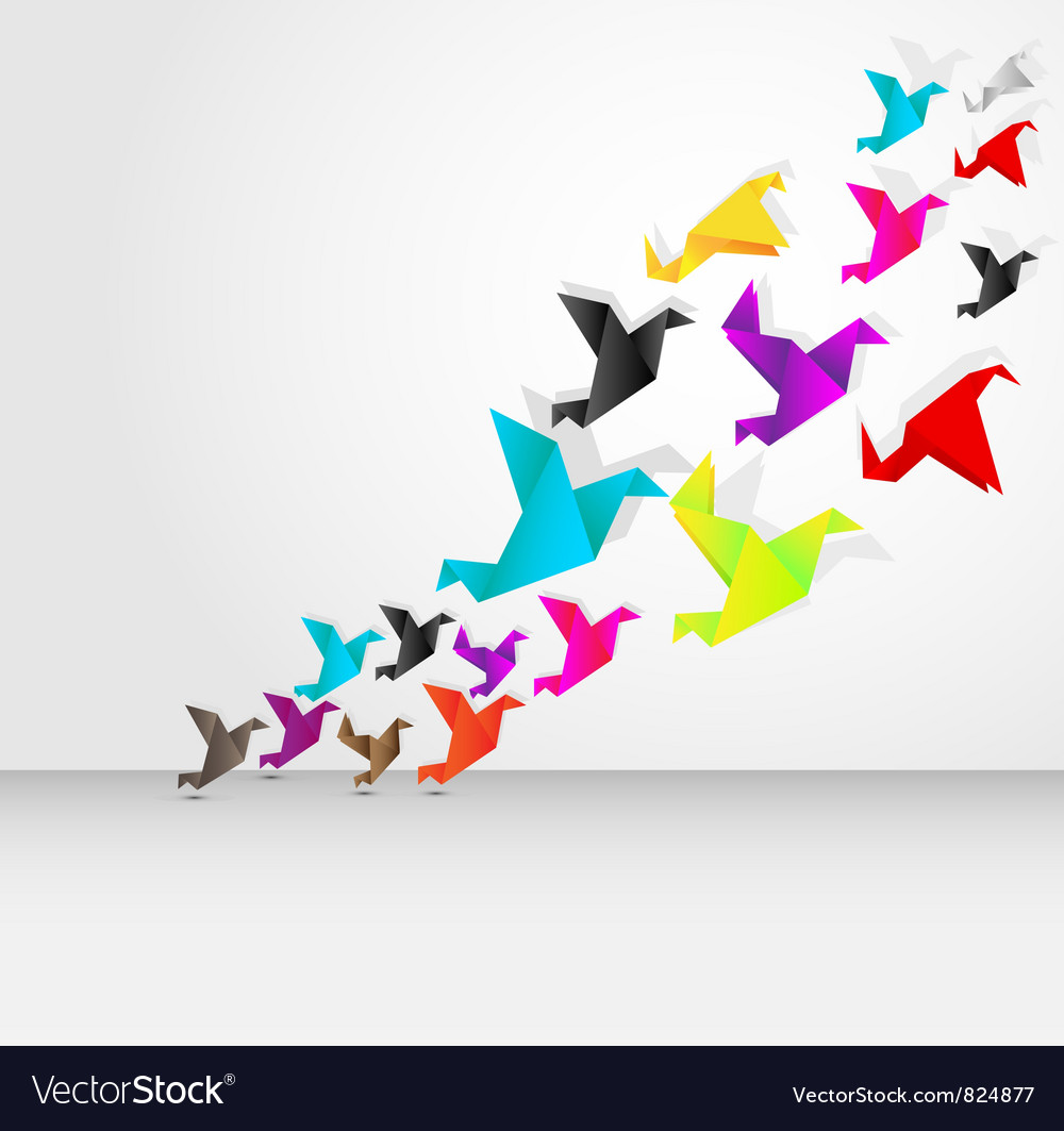 Origami bird flying vector image