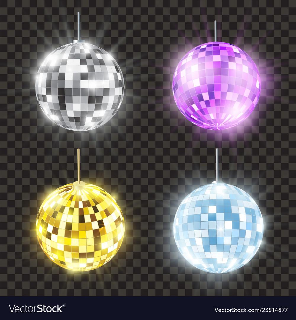 Realistic shiny disco ball set bright round