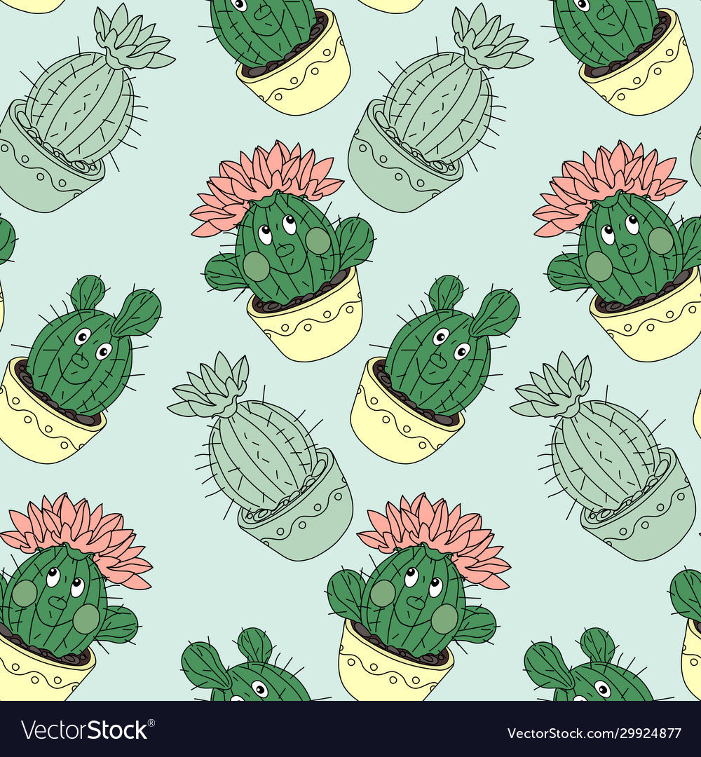 Seamless pattern with cactus and succulents in the