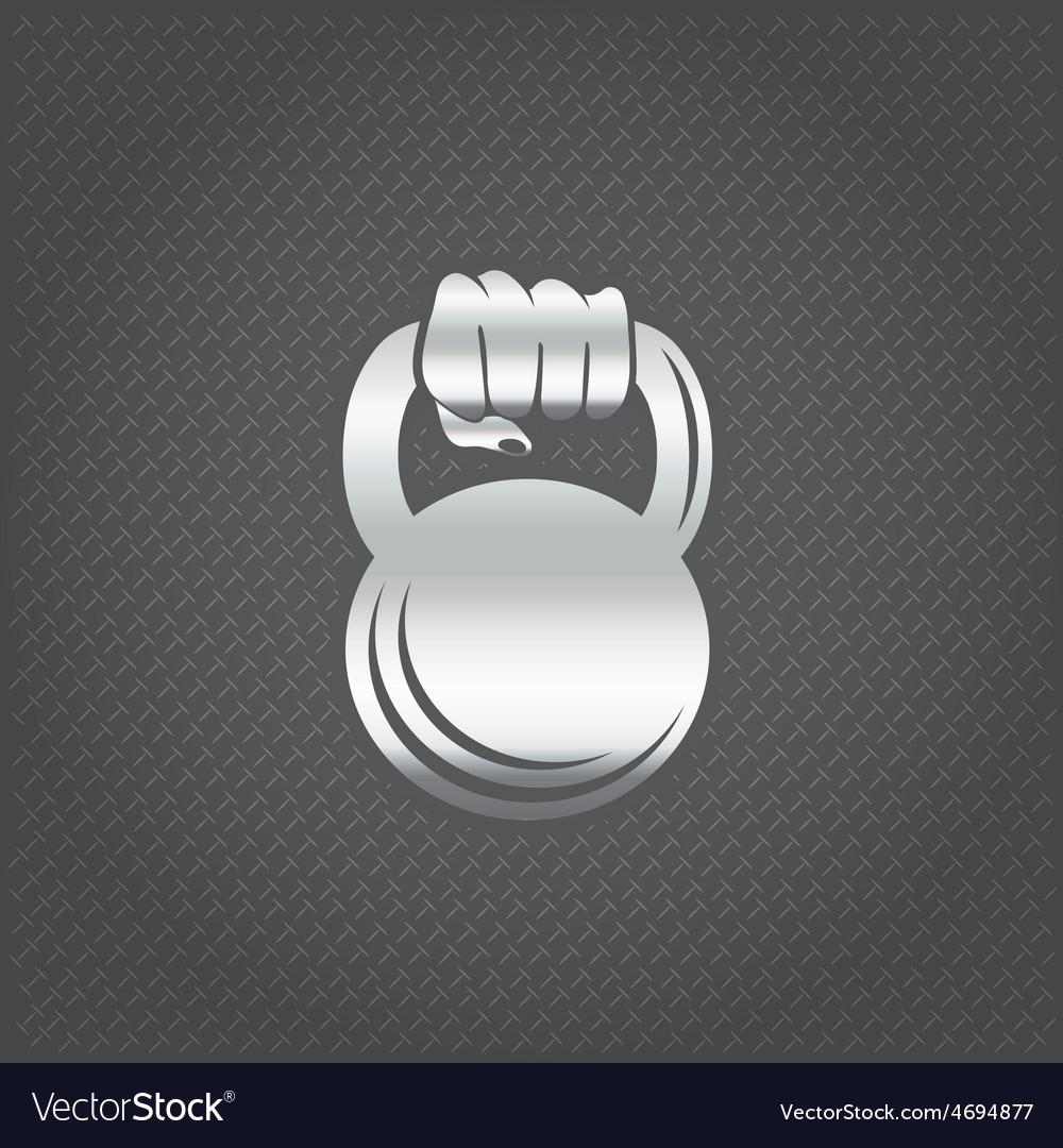 Silver hand holding kettlebell design template