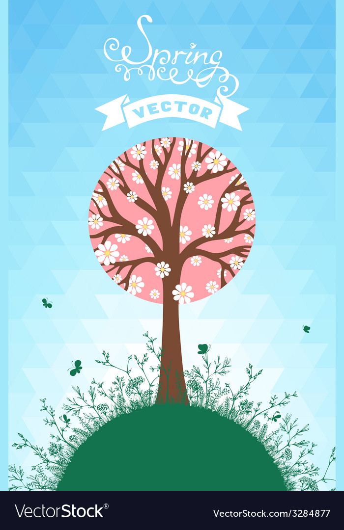 Spring hexagons background vector image