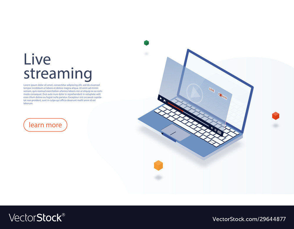 Streaming concept isometric laptop and live video
