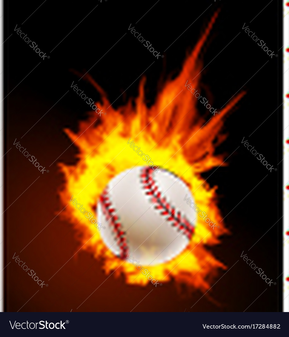 Baseball ball on fire background