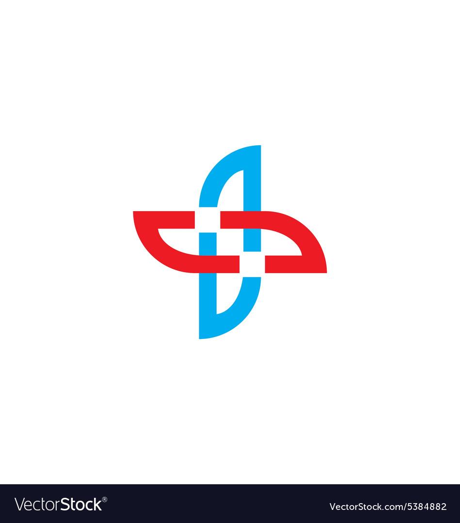 Cross shape abstract circle logo vector image