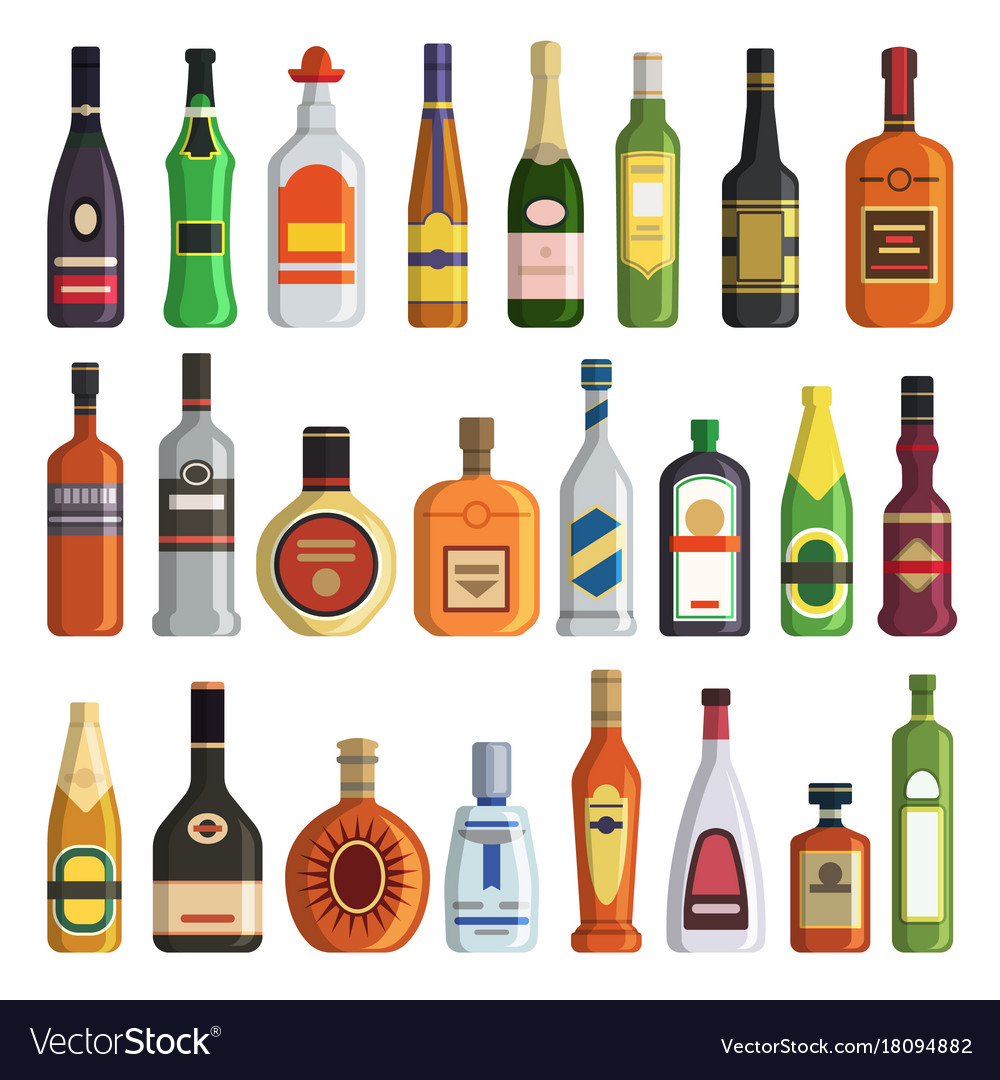 Different Alcoholic Drinks In Bottles Royalty Free Vector