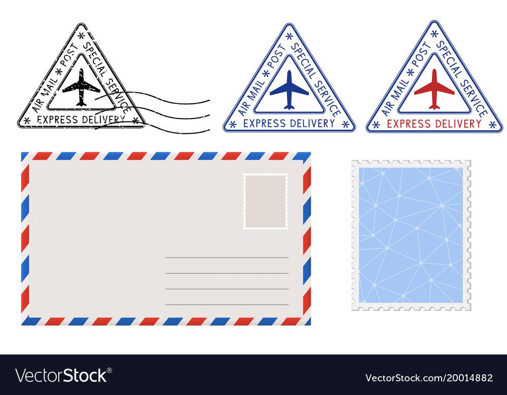 Envelope stamp and triangle postmarks postal set