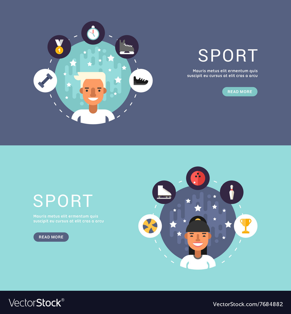 In Flat Design Style Sport Icons and Sportsman