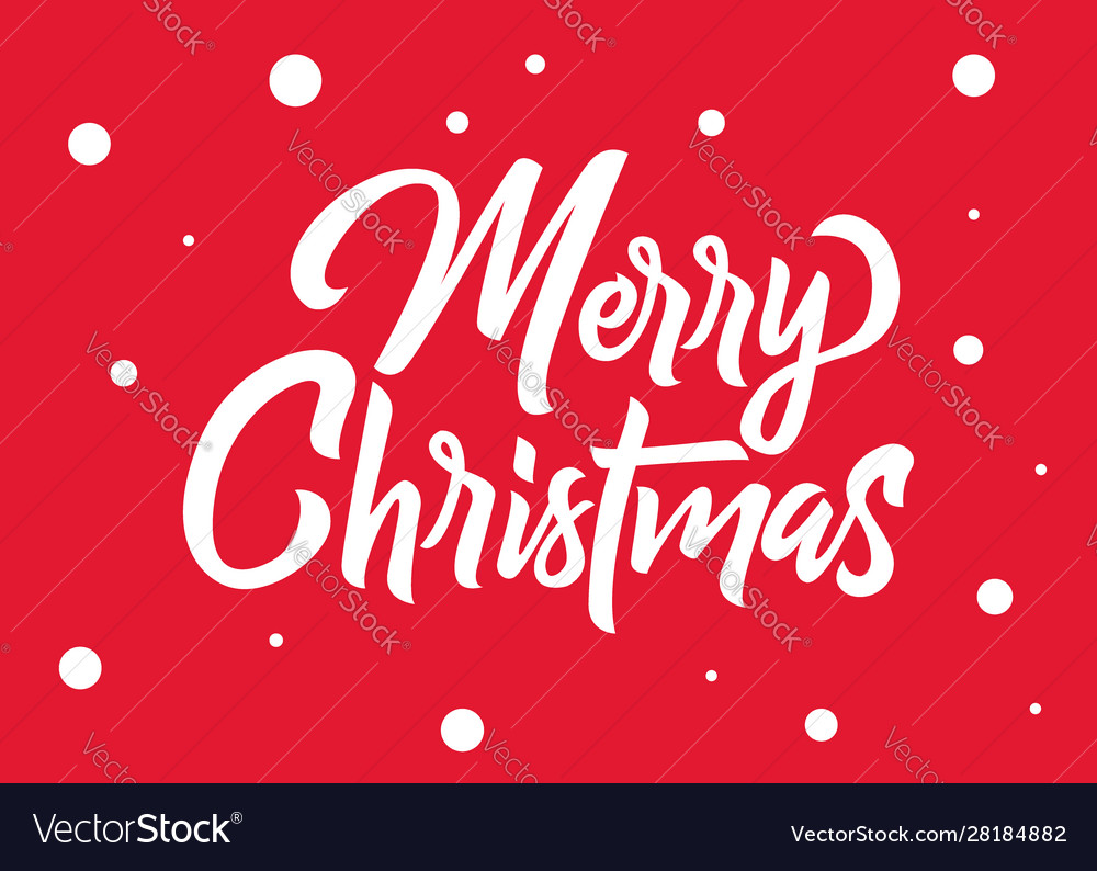 Merry christmas hand lettering white text with