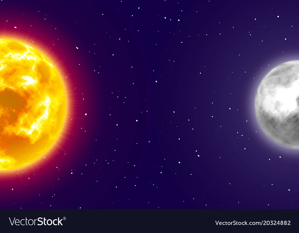 Moon And Sun Night Sky Background Cartoon Style Vector Image