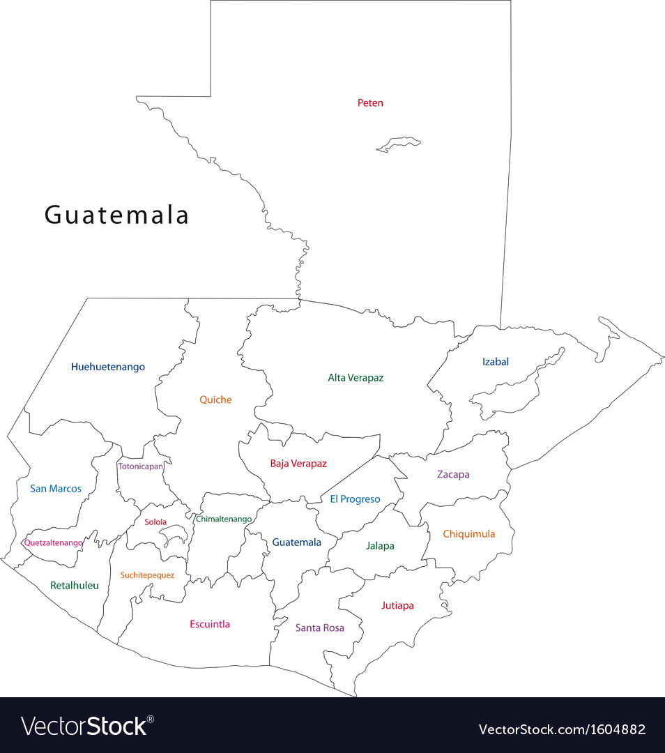 Outline Guatemala map Royalty Free Vector Image