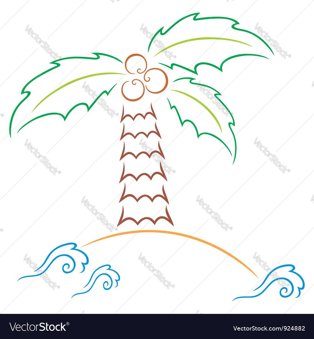 Palm at island vector image