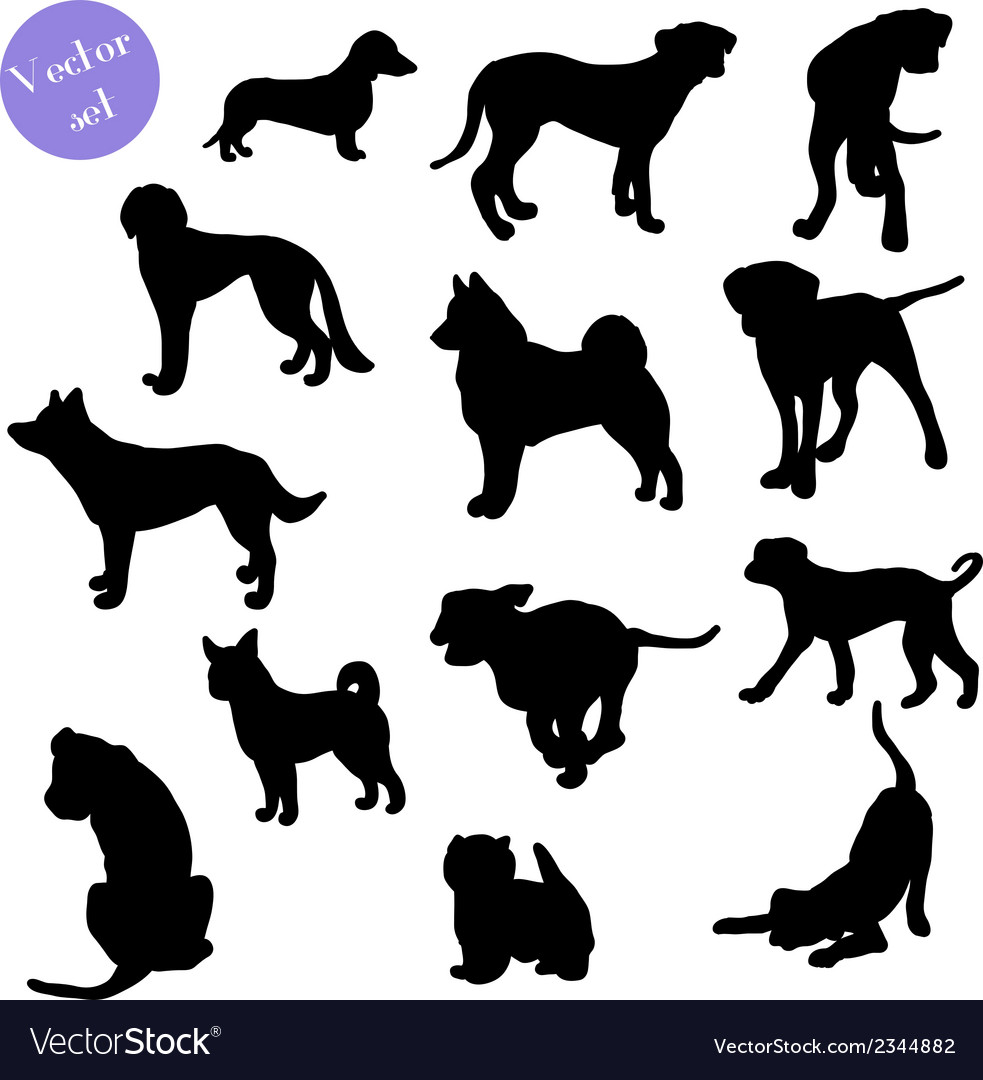 set of dogs silhouette royalty free vector image