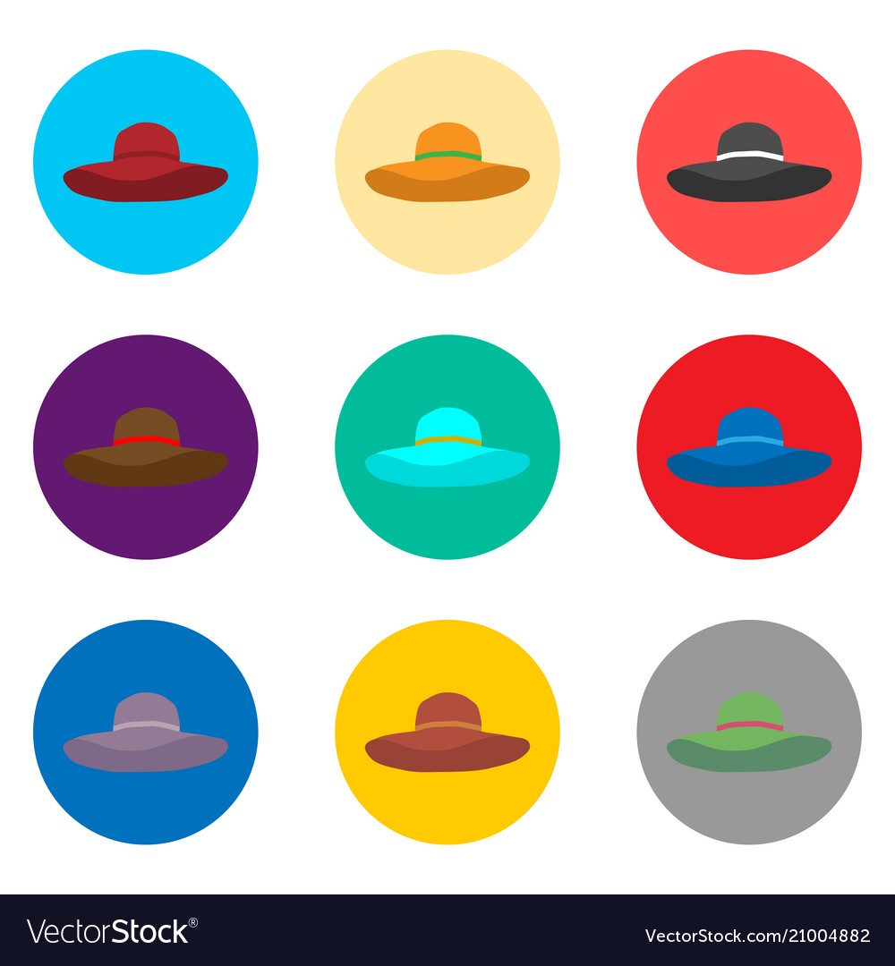 Set Symbols Summer Hat From The Sun For The Beach Vector Image