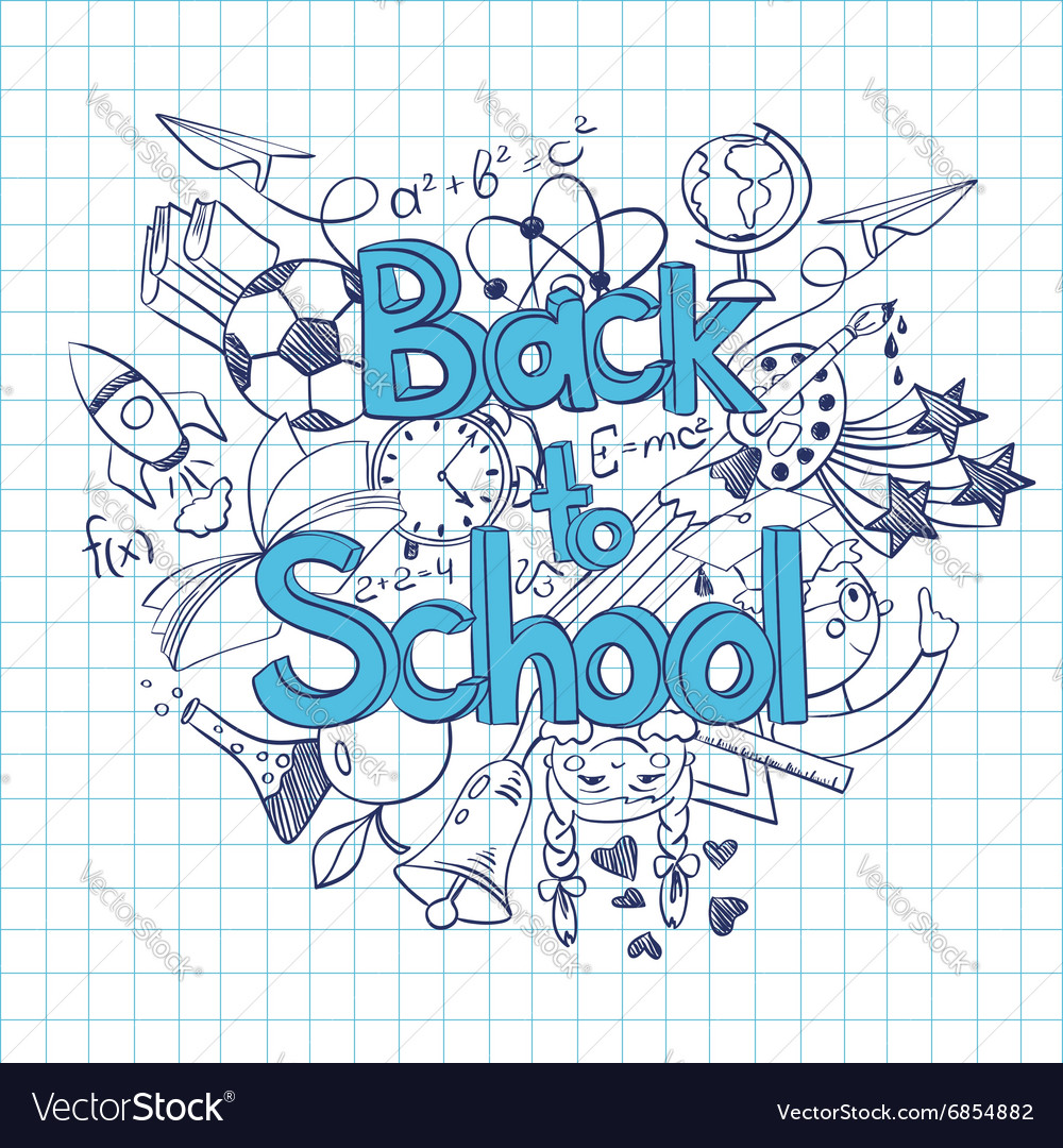 Sketch Back to School Background vector image