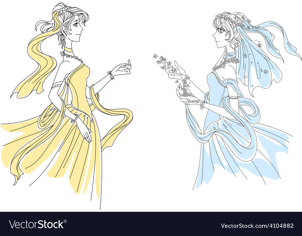 Two delicate vintage ladies in swirling attire