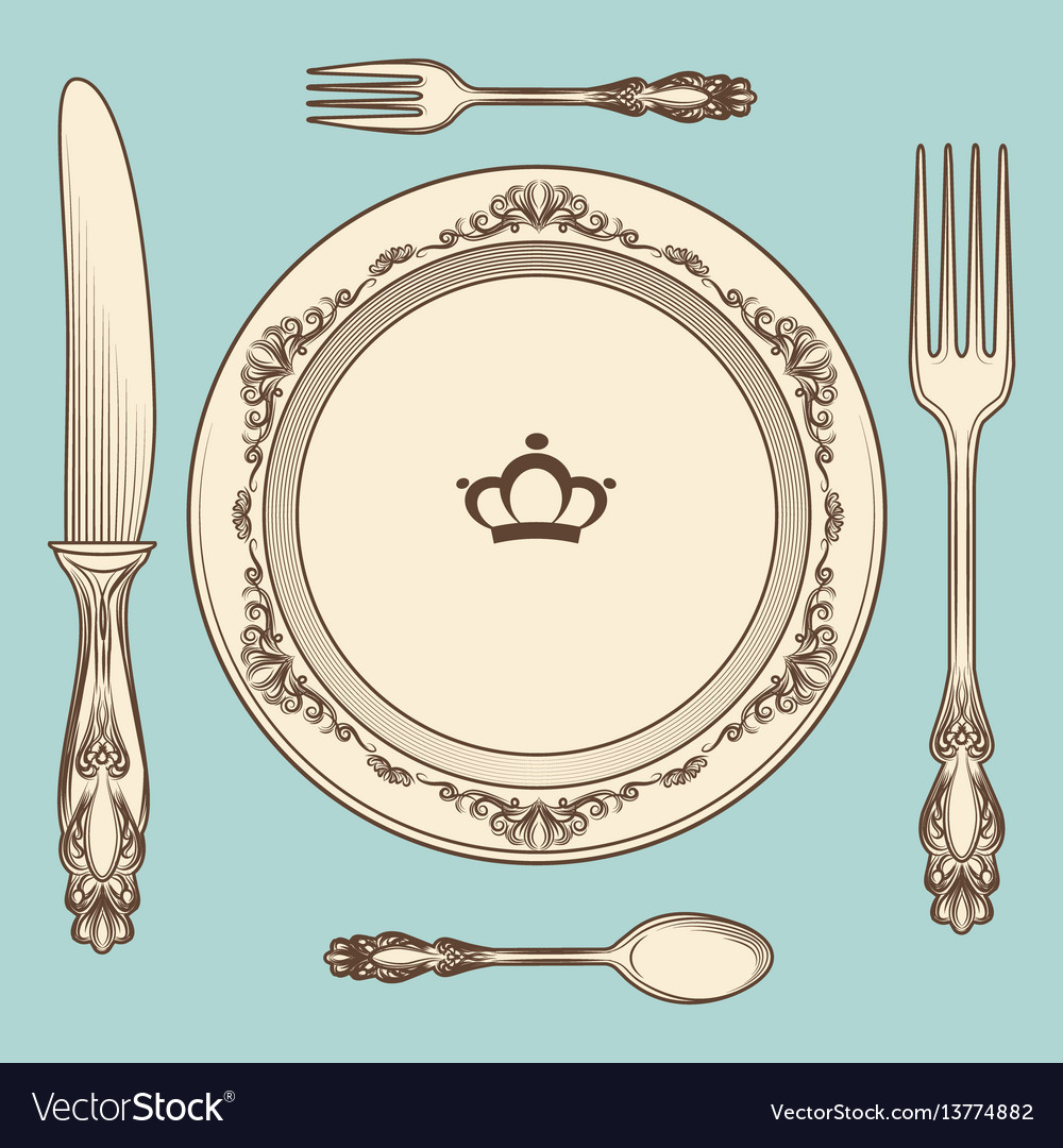 Vintage cutlery and plate