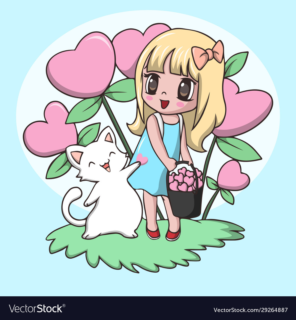 Beautiful Cute Little Girl Carrying Heart With Cat