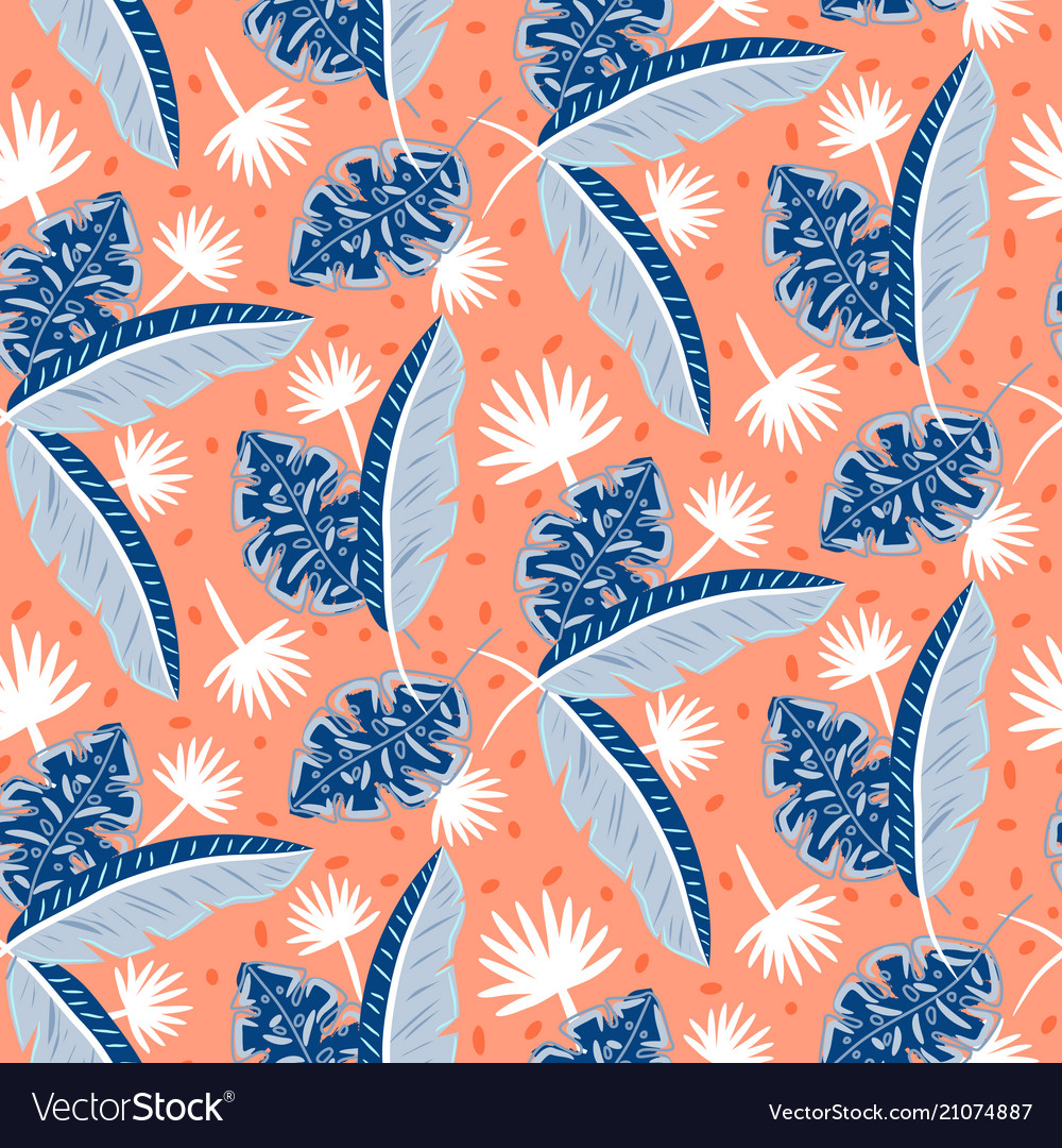 Blue and red tropic island leaves pattern for