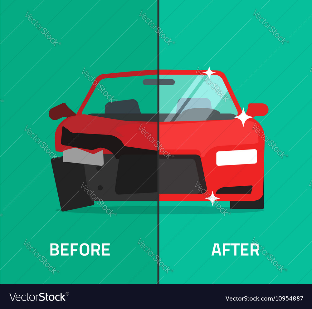 Car before after crashed broken and repaired