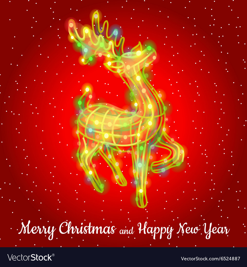 Christmas deer from garland sparkling silhouette