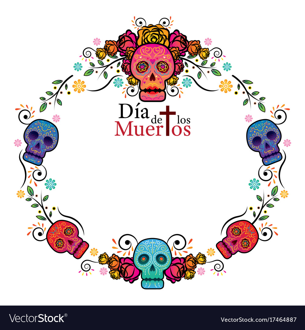 Day Of The Dead Skull Frame Royalty Free Vector Image