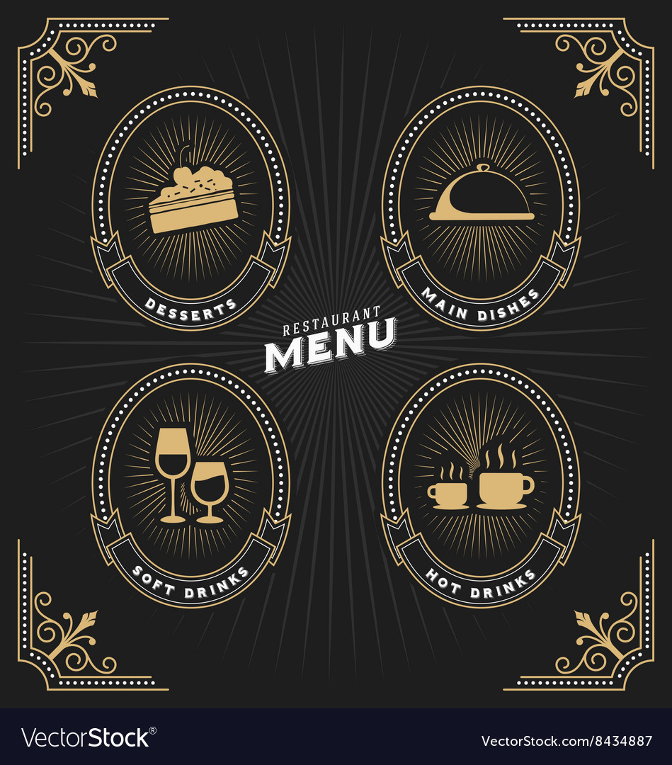 Luxury vintage frame and label for restaurant menu
