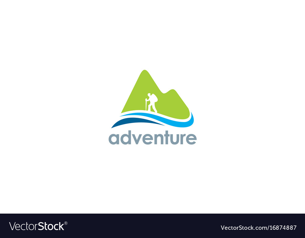 Mountain hiking travel adventure logo