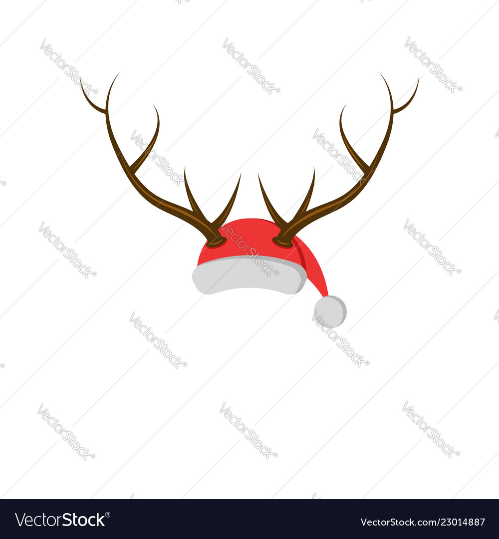 New year mask hat santa claus with deer horns