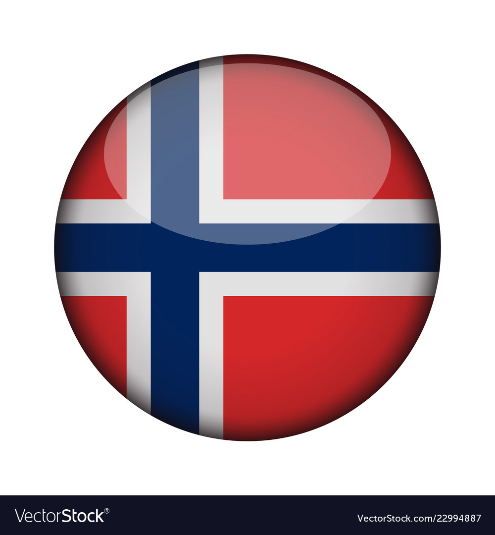 Norway flag in glossy round button of icon norway Vector Image