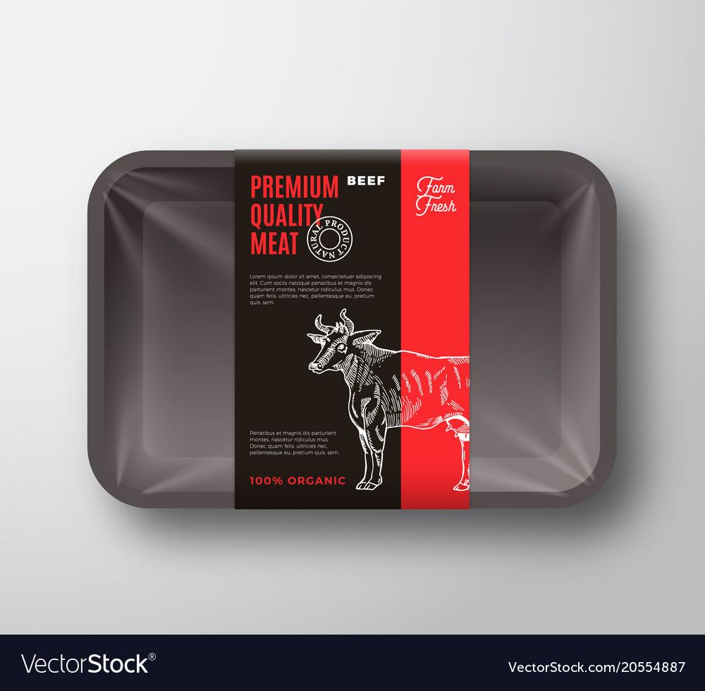 Premium quality beef meat packaging design layout vector image