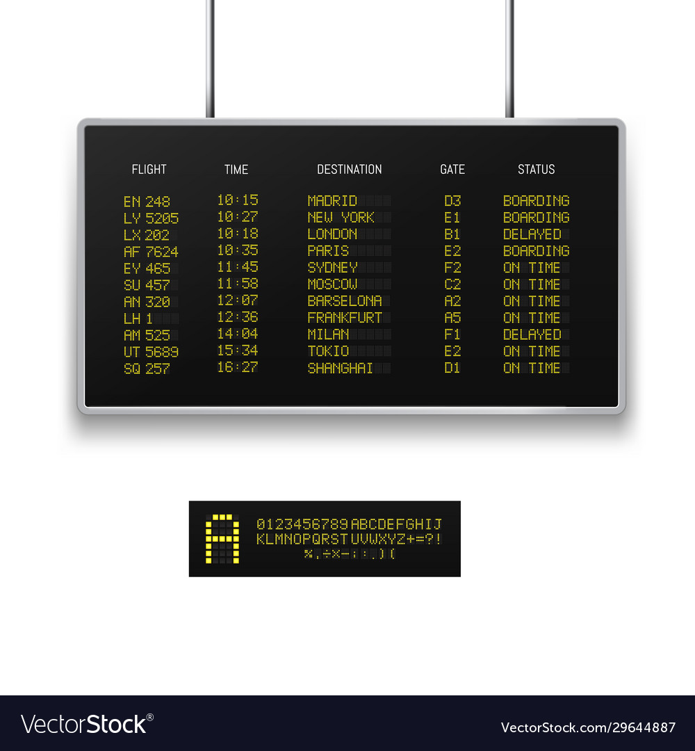 Realistic 3d digital led airport board with flight