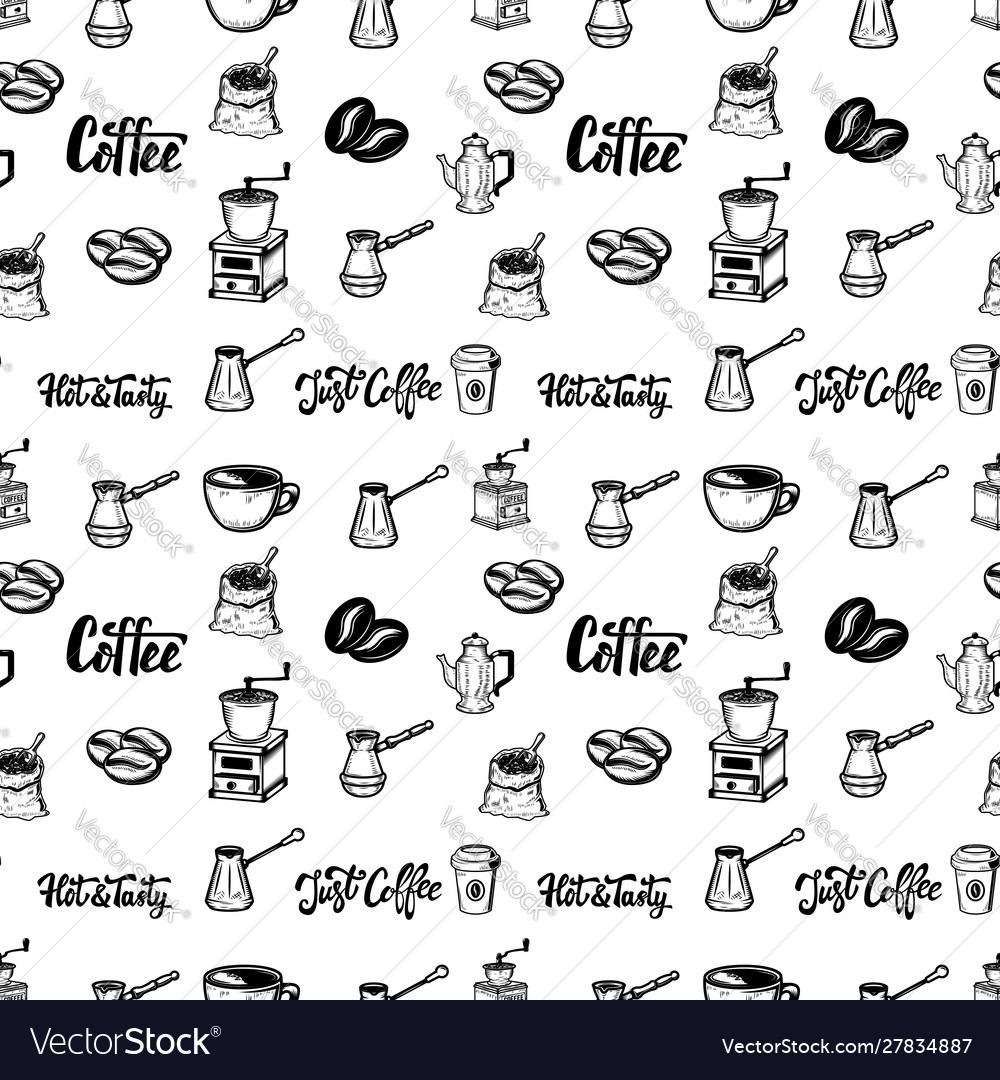 Seamless pattern with coffee design elements for