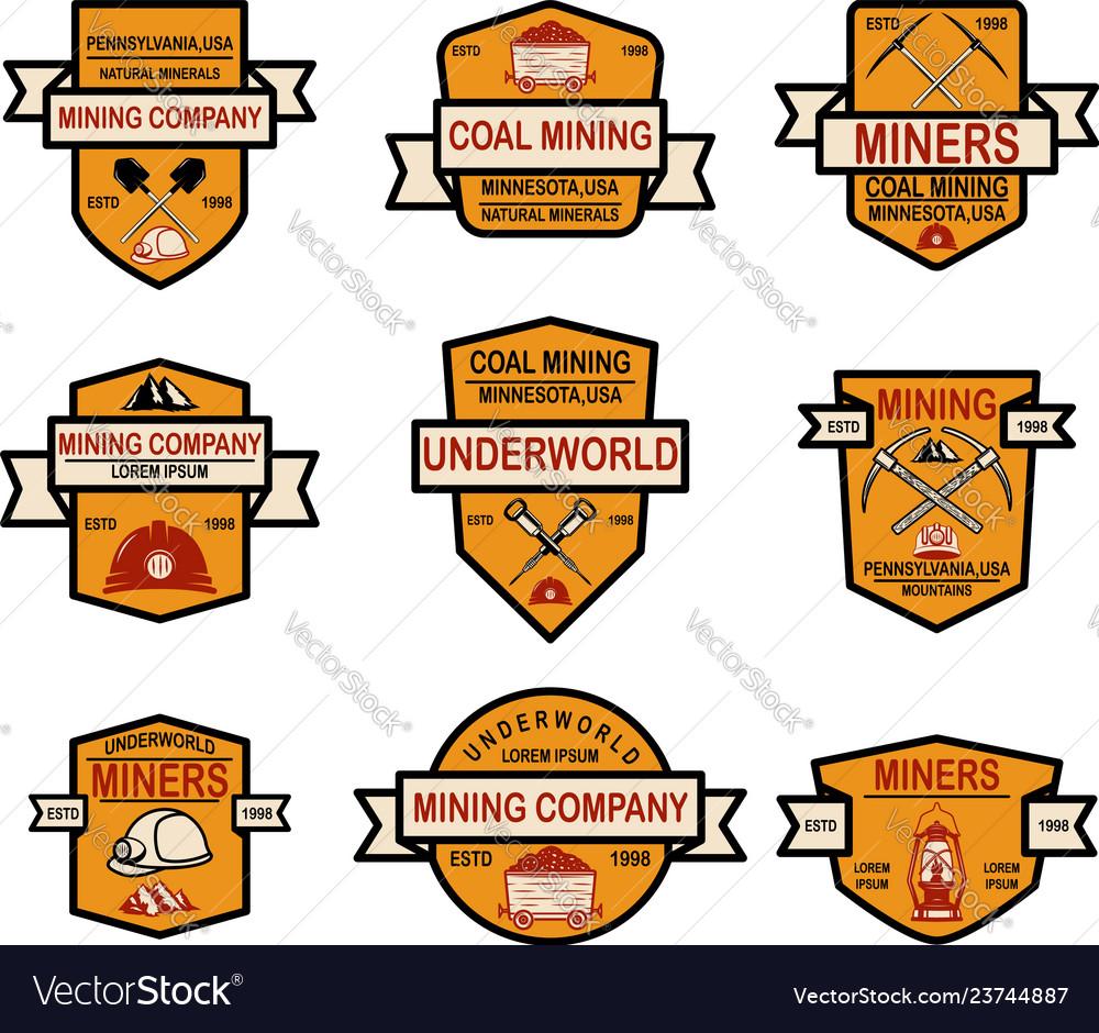 Set coal mining company emblem templates