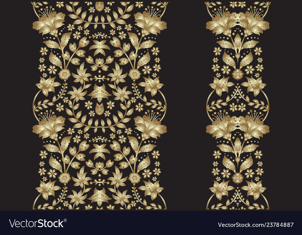 Set golden lace pattern decorative elements vector