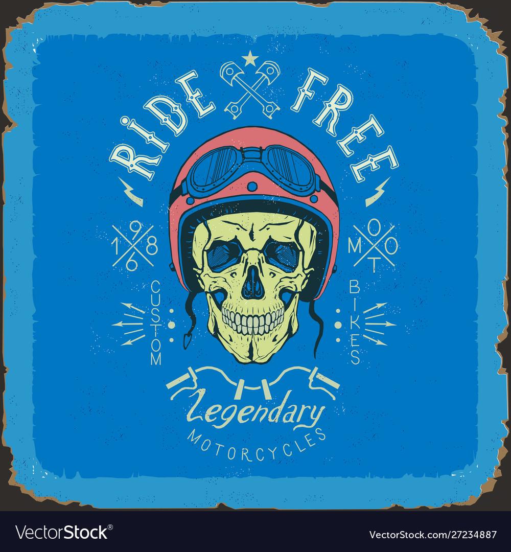Vintage skull biker label in blue and red color