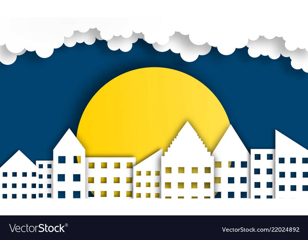Abstract city background with moon in night time