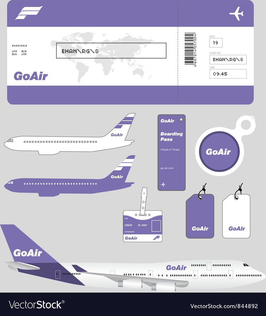 Airline brand and plane tickets vector image