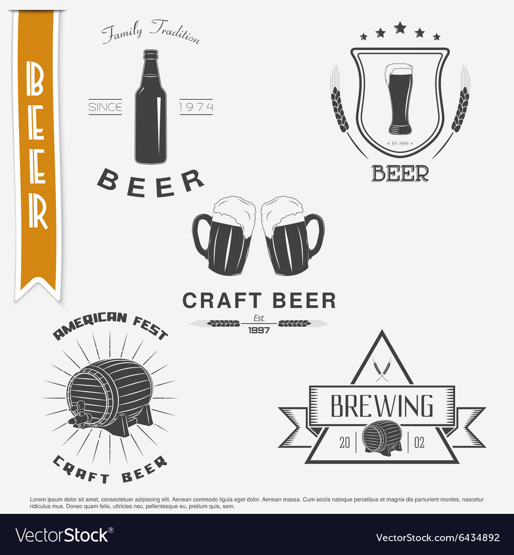 Beer and Brewing set Brewing typographic labels