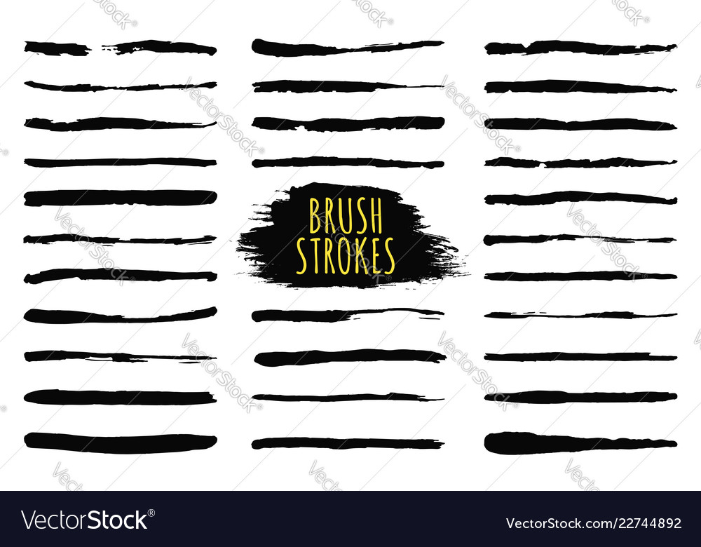 Brush strokes collection hand drawn brush strokes