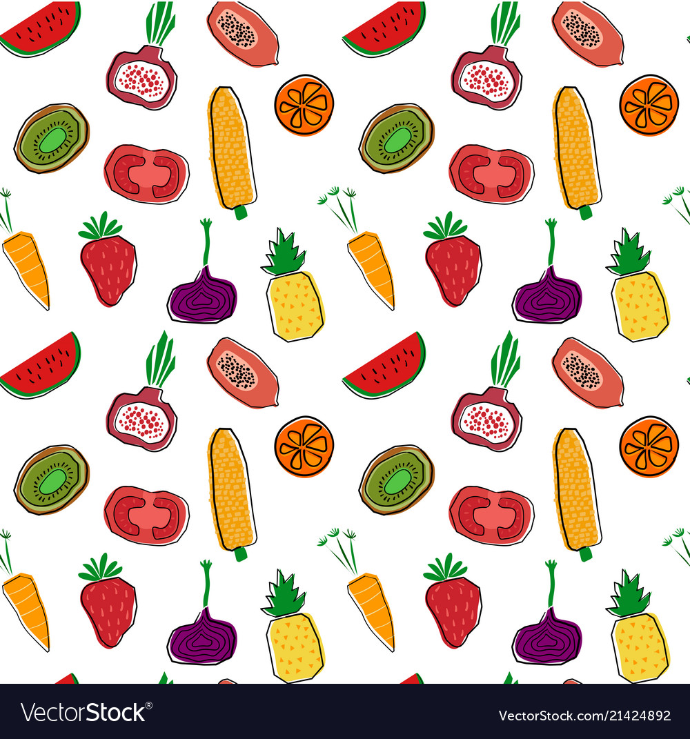 Hand drawn colourful fruits and veggetables